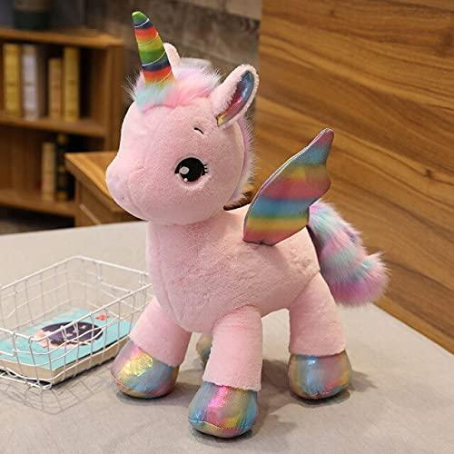 RAOMALV Ins Hot Soft Cute Unicorn Dream Rainbow Peluche de Juguete Caballo Rosa Dulce niña decoración del hogar Almohada para Dormir Regalo para niños About 60cm Rosa