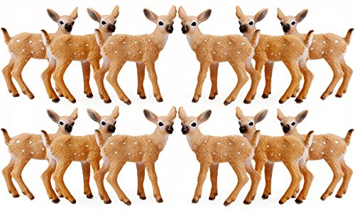 RESTCLOUD 12Pcs Deer Figurines Cake Toppers  Deer Toys Figure  Small Woodland Animals Set of 12 Fawn