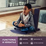 bonVIVO Folding Floor Chair - Portable, Padded Chairs for Meditation and Back Support Blue