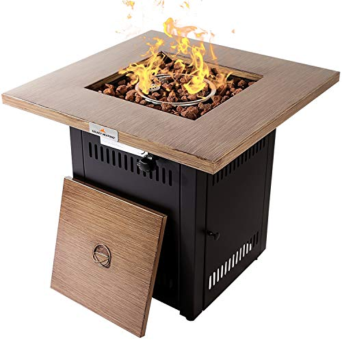 28 Inch Square Fire Pit, Gas Propane Firepit with Lid by LEGACY HEATING, 48000BTU ETL Certification Fireplace Fire Bowl for Outdoor Garden Backyard Deck Patio BBQ Grill, Wood Look