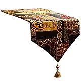 Artbisons Table Runner 108x13 Gold Illusion Luxury Soft Cotton Linen Handmade Tablerunner
