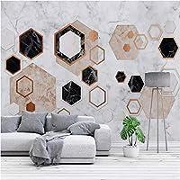 Iusasdz 3D壁紙北欧抽象幾何学大理石写真壁画リビングルームソファ背景壁布家の装飾壁画-400X280Cm
