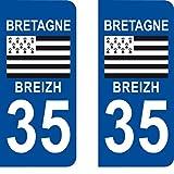 SAFIRMES 2 Autocollants 35 Ile et Vilaine Bretagne Plaque immatriculation département Auto 35 : Angles arrondis