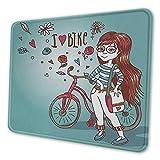 Cartoon gedruckt Mauspad Liebe mein Fahrrad Thema Mädchen mit Fahrrad Vintage Blumen Illustration Mauspad für Schreibtisch Computer getrocknete Rose und Hellblau