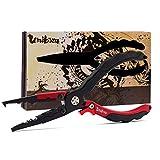 Umibozu(ウミボウズ) フィッシングプライヤー 日本墨絵モデル 釣り用ペンチ 超軽量 多機能 針はずし フックはずし ラインカッター 安全ロープ付き (火龍/ロック機能)