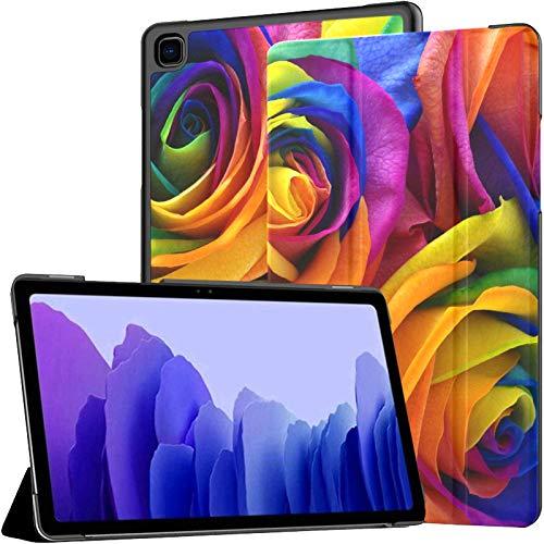 Ramo de Flores de Rosas Multicolores, Color arcoíris, para Galaxy Tab A, para Galaxy Tab A7 de 10.4 Pulgadas, para tabletas Samsung, con Estuche con activación/Reposo automático, para Samsung Galax