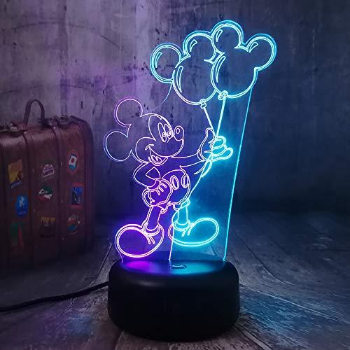3D-nachtlampje muis, de ballon heeft 7 kleuren afstandsbediening en is geschikt voor slaapkamer, hoofddecoratie, kinderkerstcadeau
