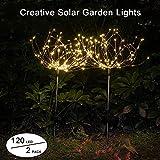 2 x Solar Feuerwerk Licht 120LED Solarleuchte Garten Wasserdicht IPX7, 40Kupferdrähte Landschaftslicht DIY Draussen Blüht Feuerwerks-Bäume für Garten Patio Rasen, Weihnachtsfest-Dekor (Warmweiß)