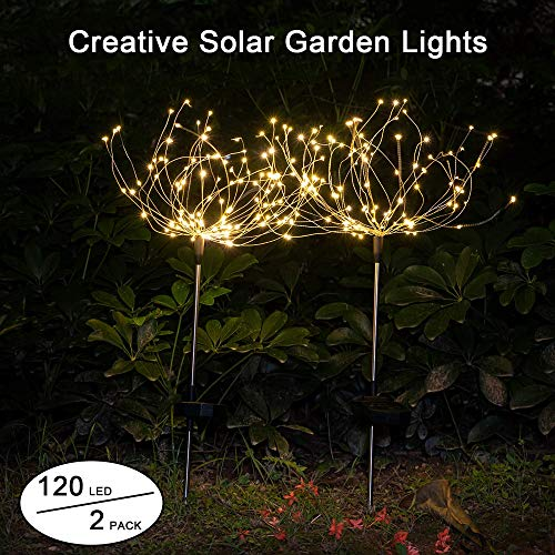 Paquete de 2 luces solares al aire libre Starburst de jardín 120 LED de fuegos artificiales solares 40 hilos de cobre - Flores de bricolaje Árbolesde para la Patio Jardín, decoración de fiesta
