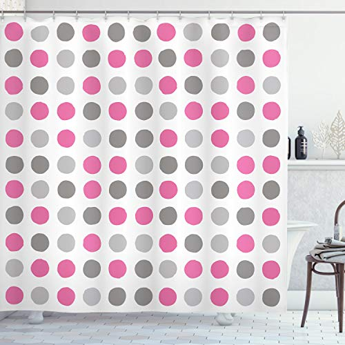 """Ambesonne Geometric Shower Curtain, Traditional Retro Polka Dots Design European Ancestral Motif Pastel Colors, Cloth Fabric Bathroom Decor Set with Hooks, 70"""" Long, Pink Grey"""