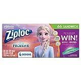 Ziploc Sandwich Bags, Easy Open Tabs, 66 Count- Featuring Disney Frozen Designs