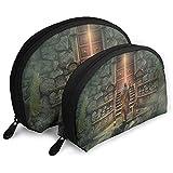 Mysterious Warrior Fantasy Bolsas portátiles Bolsa de Maquillaje Bolsa de Aseo, Bolsas de Viaje portátiles multifunción Pequeña Bolsa de Embrague de Maquillaje con Cremallera