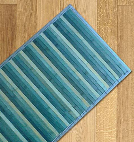 Confezioni Giuliana Tappeto Bamboo sfumato passatoia Cucina Ingresso cm 55x280 Azzurro Turchese Blu