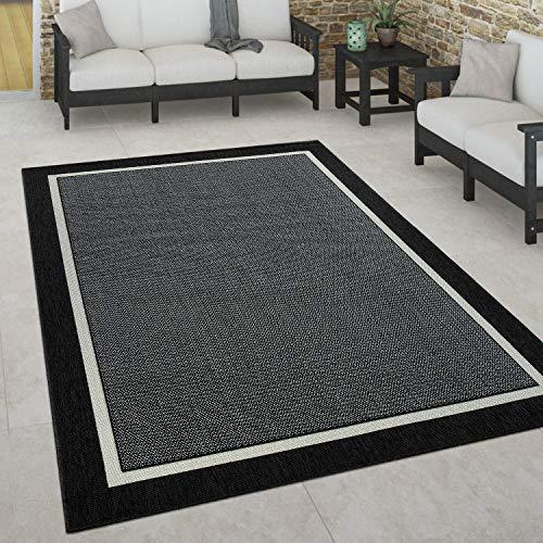 Paco Home In- & Outdoor Teppich, Terrasse u. Balkon, Wetterfest Skandinavischer Stil, Grösse:160x230 cm, Farbe:Schwarz 2