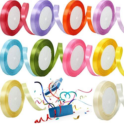 Satinband,10 Stück 10mm Breit geschenkband satin,Geschenkband set Schleifenband bastelband Ringelband für Weihnachten Geschenkverpackung Hochzeit und Weihnachtsdekoration Party