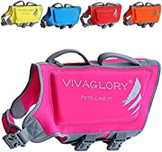 Vivaglory Dog Life Jacket, Skin-Friendly Neoprene Life Jackets for Pets, with Dual Rescue Handles and Superior Buoyancy, Pink, Large