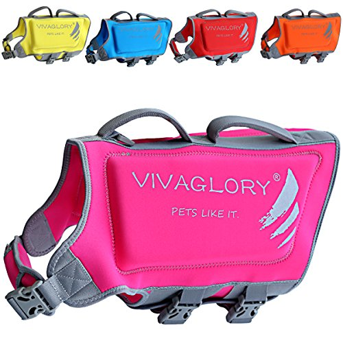 Vivaglory Dog Life Jacket, Skin-Friendly Neoprene Life Jackets for Pets, with Dual Rescue Handles...