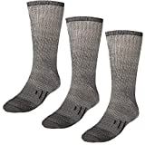 DG Hill 3 Pairs 80% Merino Wool Socks for Men and Women, For Hiking, Crew Style, (Black, Gray, Brown)