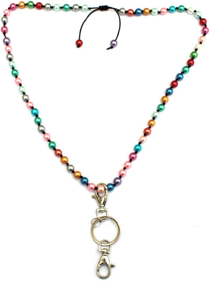 Multi Functional Retractable ID Badge Holder Handmade Knotted Colorful Glass Pearl Beads Crystal Necklace with Keychain for Womens Office Worker Name Card Identification Lanyard
