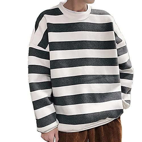 Hombres Rayas Sudaderas Primavera Otoño Moda Mens Sudaderas Hombre Pareja Suelta, gris, S