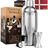 Professional Cocktail Shaker Set w/ a Double Jigger & 2 Liquor Pourers by BARVIVO - 24oz Martini...
