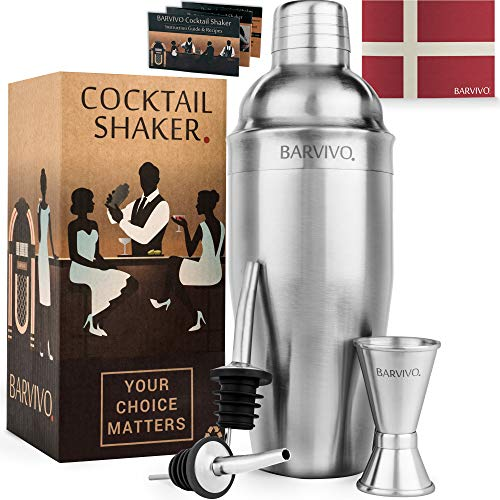 BARVIVO Professional Cocktail Shaker Set w/a Double Jigger & 2 Liquor Pourers by 24oz Martini Mixer Made of Brushed Stainless Steel Perfect for Mixing Margarita, Manhattan & Other Drinks at Home.