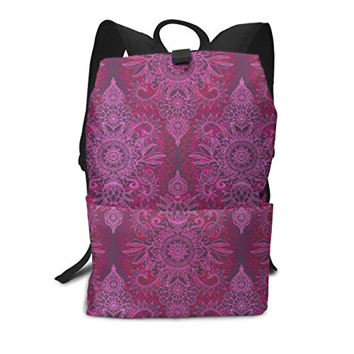 Unisex Backpack, Deep Pink and Mauve Protea Doodle College Students Bookbags Travel Computer Notebooks Daypack School Outdoor Shoulder Bag Daypack
