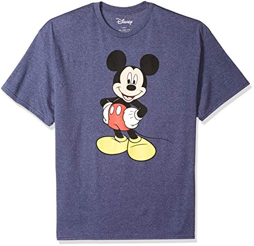 Disney Mickey Mouse Men's Mickey Wash Short Sleeve T-Shirt, Navy Heather, Large