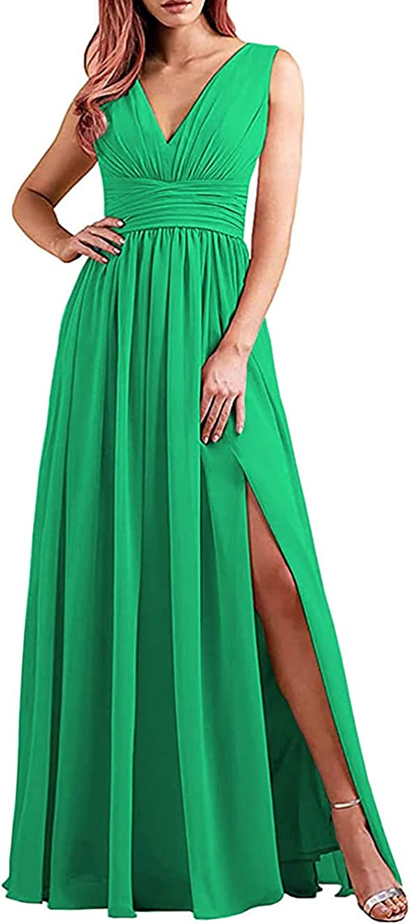 King Noiva Women's Slit Long Bridesmaid Dresses Double V Neck Ruched Chiffon Formal Evening Gown COO31