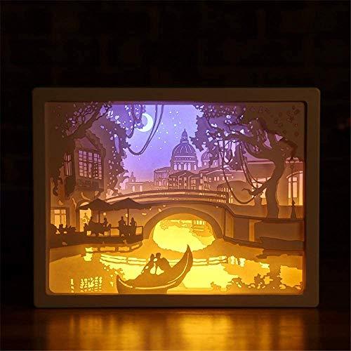 Luz de noche de talla de papel 3D Wangzj, lámpara de mesa LED lámpara de mesita de noche lámpara de decoración de talla de Halloween de Navidad regalo de cumpleaños, B
