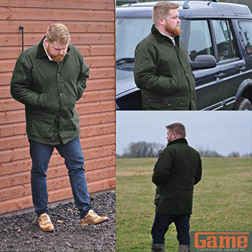 Game Technical Apparel New British Quilted Padded Country Wax Cotton Rain Jacket (XXL, Olive)