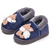 Ainikas Toddler Boys Girls Slippers Fluffy Little Kids House Slippers Warm Fur Cute Animal Home Slipper, Navy Blue 6-7 Toddler