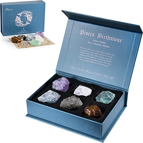Faivykyd Pisces Crystal Gift-Zodiac Sign Stones to Complement The Birthstone-Natural Healing Crystals with Horoscope Box Set