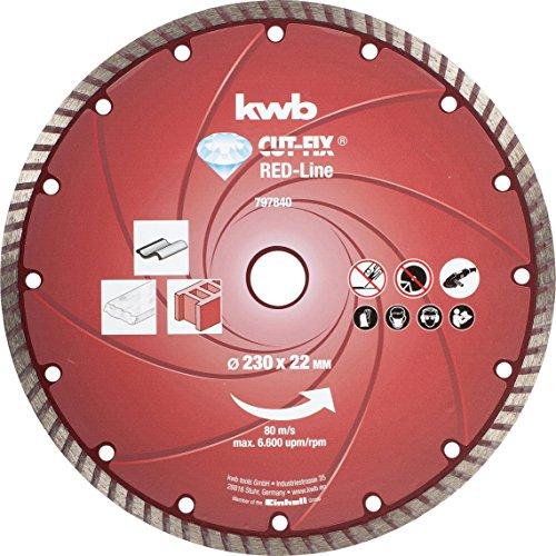 kwb Diamanttrennscheibe Red-Line 797840 (gesintert, Turborand, 230 x 22 mm) u. a. für Einhell TE-AG 230