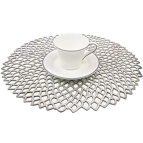 Famibay PVC Placemats Set of 6 Washable Placemats Silver Hollow Round Table mats for Dining Table