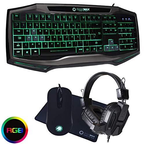 I-CHOOSE LIMITED GameMax Raptor Gioco RGB Tastiere Topo Tappetino per Mouse & Auricolare Set 7 Colore Retroilluminato