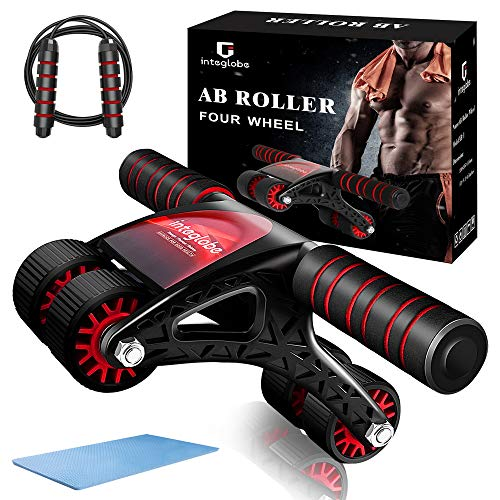 Integlobe Ab Roller for Abs Workout,Super Stable 4-Wheel Ab Roller Wheel with Jump Rope and Knee Mat,No Assembly Needed Ab Wheel Roller for Core Workout,Ab Workout Equipment for Home Gym,Men and Women