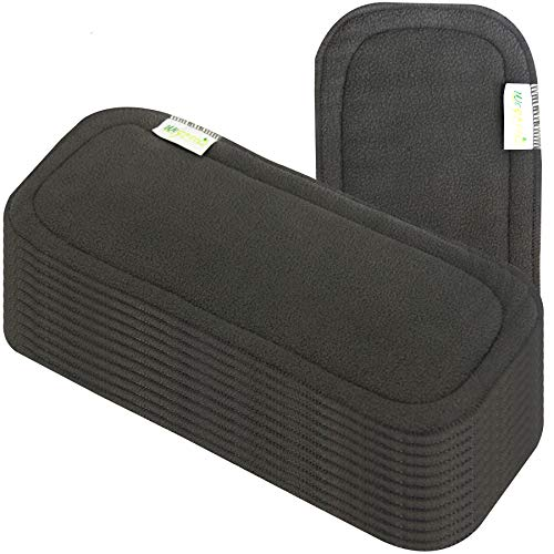 Wegreeco Paquete de 12 insertos de carbón de bambú reutilizables para pañales de tela de bebé, forro lavable de alta absorción