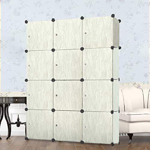 Froadp Faltbare Kleiderschränke Steckregalsystem Garderobenschrank für Kleideraufbewahrung zum Aufbewahren und Organisieren von Spielzeug Kleidung Büchern(Holzmaserung, 12 Gitter)
