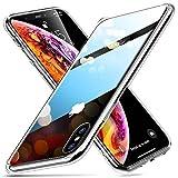 ESR Hülle für iPhone XS/X - Hartglas Handyhülle mit Weichem TPU Rahmen - Handy Schutzhülle für...
