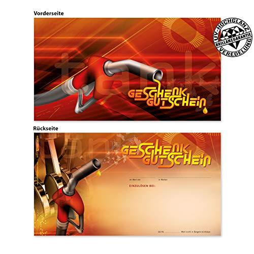 25 hochwertige Gutscheinkarten Geschenkgutscheine. Gutscheine für Tankstellen Tankstellengutschein. Tankgutschein. Vorderseite hochglänzend. TK1218