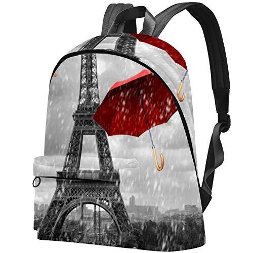 Bolsa de Libros para Estudiantes universitarios se Adapta a una Mochila de portátil de 15,6 Pulgadas, para Viajes, al Aire Libre, Escuela, Universidad, Torre Eiffel con Paraguas voladores