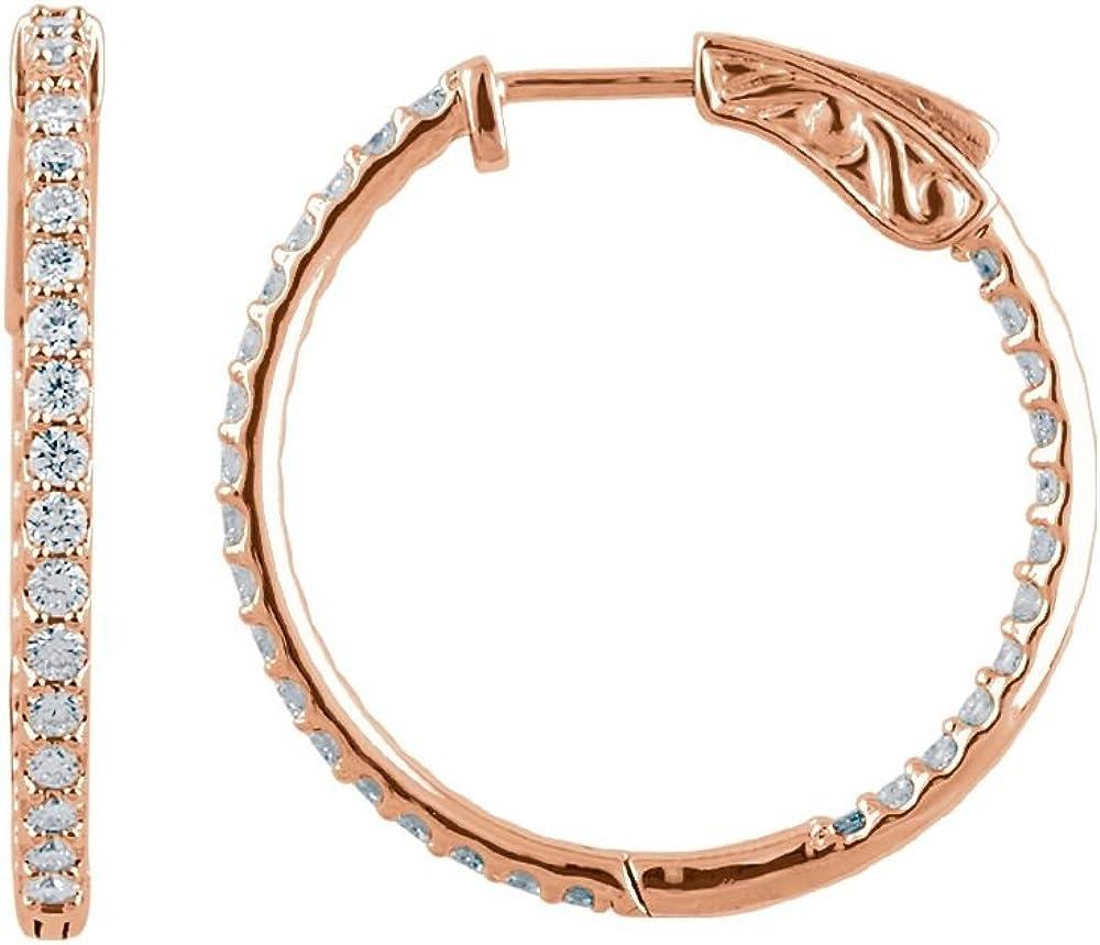 Jewels Super beauty product restock quality top! By Lux 14K Rose 35% OFF 1 Inside CTW Diamond Earring Hoop Outside