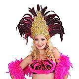 Amakando Tocado de plumas Rio Samba dorado rosa, disfraz brasileño, accesorio de bailarina de Sambata, accesorio para disfraz de carnaval en Río