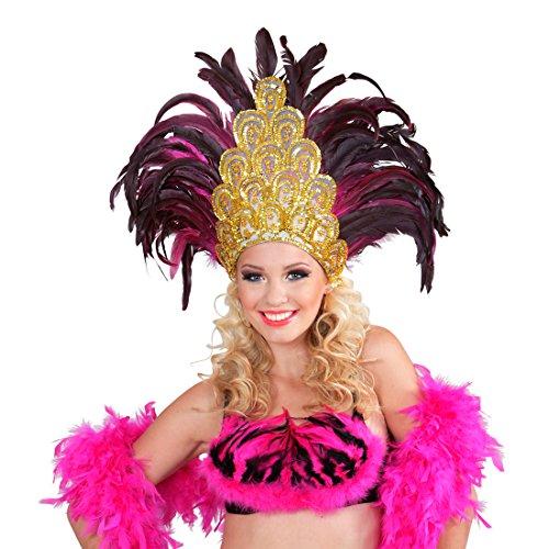 Amakando Federkopfschmuck Rio Samba-Kopfschmuck Gold, pink brasilienisches Kostüm Accesoire Sambatänzerin Zubehör Showgirl Outfit Karneval in Rio