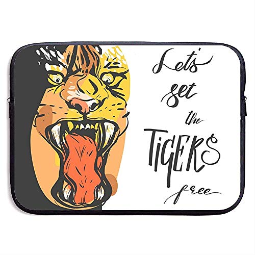 Laat ons maken Tijger Voedsel 15 Inch Laptop Sleeve Bag Draagbare Rits Laptop Tas Tablet Bag