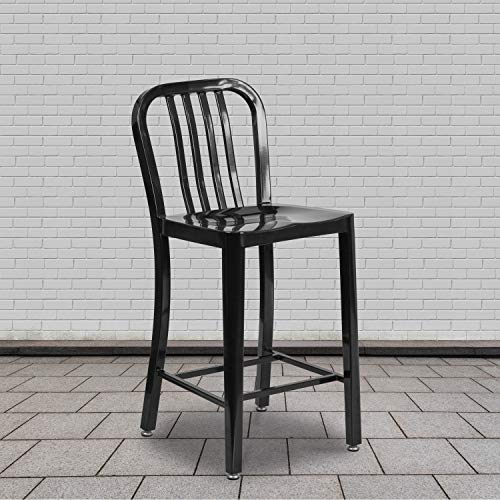Flash Furniture Barhocker mit Rückenlehne – Metall-Barstuhl für Innen- und Außenbereich – Tresenstuhl ideal für die gewerbliche Nutzung – 2er Set – Schwarz