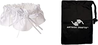 Darice DIY Crafts Supplies Bridal Victoria Lynn Satin Garter Rose w/Ribbon Embellishment White (3 Pack) P35810 01 Bundle with 1 Artsiga Crafts Small Bag
