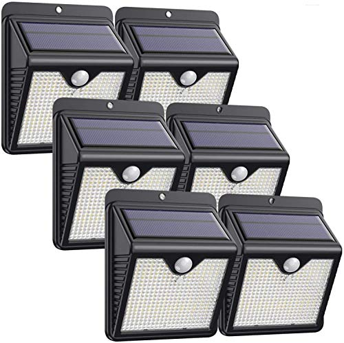 Luce Solare Led Esterno, 【6 Pezzi-1000lumen】iPosible 150 LED Lampada Solare da Esterno Luce Led Esterno Solare con Sensore di Movimento Luci Esterno Energia Solare IP65 Luci Solari per Giardino