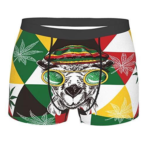 MANISENG Männerunterwäsche,Marihuana, Kamele In Rastaman Hut, Hanf und Dreiecke, Boxershorts Atmungsaktive Komfortunterhose Größe S